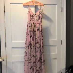 Gorgeous Pink Floral  Open Back Maxi